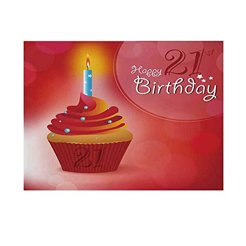 21st Birthday Decorations Photography Background,Abstract Sun Beams Backdrop Party Cupcake with Frosting Backdrop for Studio,10x6ft