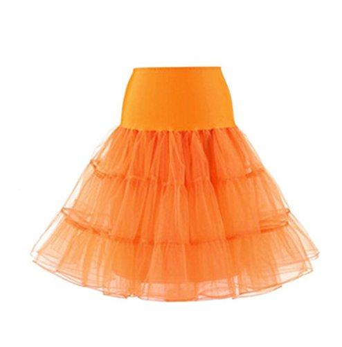 AILIENT Anni 50 Sottogonna Vintage Donne Costume Balletto Gonna in Tulle Multistrato Puffy Gonna Partito Petticoat Orange