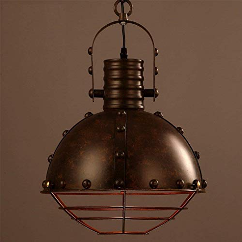 LUCY STORE Enjoyment Industrial Style Vintage Pendant Lamp Round Metal Pot Lampshade Pendant Lamp E27 Lamp Holder Max 60W Retro Creative Restaurant Height Adjustable Hanging Lamp Ø32CM Luxury