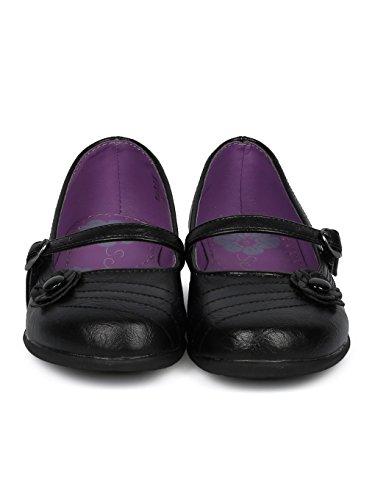 Schola Sammi-02 Girls Leatherette Round Toe Flower Applique Mary Jane Uniform Shoe HD42 - Black Leatherette (Size: Big Kid 3) by Alrisco (Image #3)