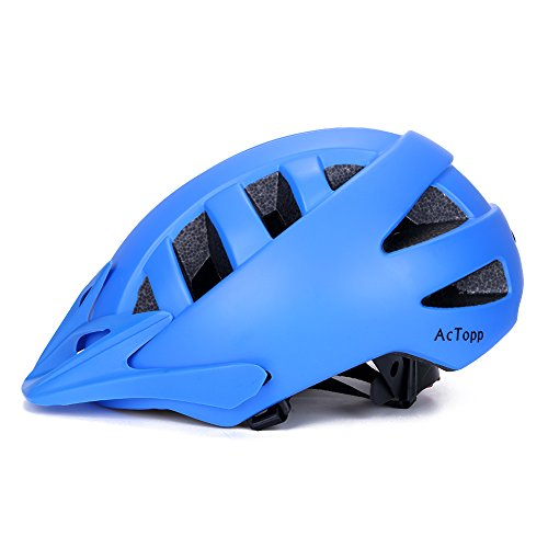 AcTopp Adult Bike Helmet, Safety Adjustable Ultralight MTB/Road/Motorcycle Helmets with Removable Visor, 18 Vents and Inner Padding Chin Protector for Men Women- Blue