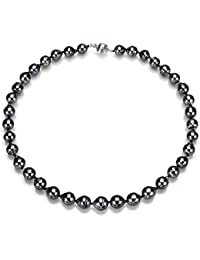 14K Gold or Sterling Silver Black South Sea Cultured Tahitian Pearl Necklace for Women 18 inch