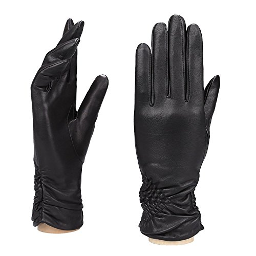 Moda MS KyivレディースRuched Cuff Genuineレザー総裏地付き冬手袋
