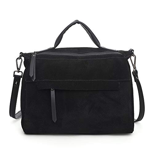 (Genuine Suede and Faux Leather Satchel for Women, Large Shoulder Bag, Small Briefcase for Women, Real Suede and Vegan Leather Zippered Tote for Women, Moda Luxe, Harrison, Black)