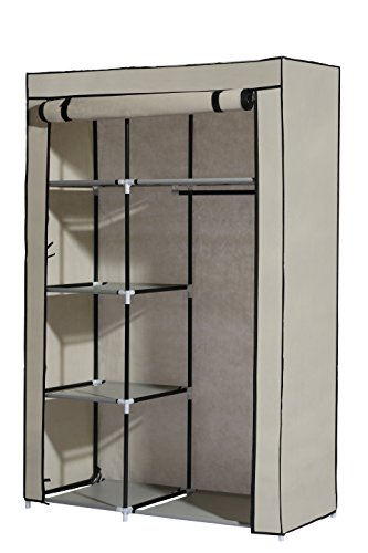 MULSH Closet Wardrobe Portable Clothes Storage Organizer with Metal Shelves and Dustproof Non-woven Fabric Cover in Beige,104.5x45.5x158cm(WxDxH) (Closet Organizer Components)
