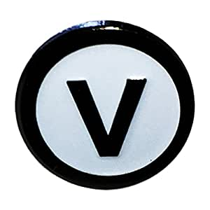 Lapel Pin displaying the vegan food symbol (V letter inside a circle)
