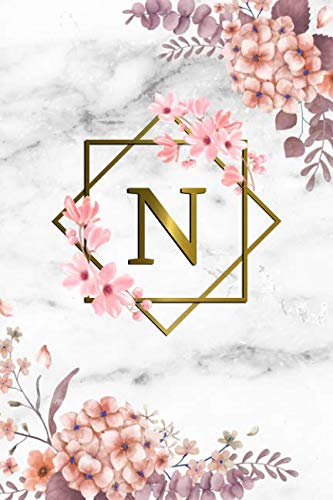 (N: Cute Initial Monogram Letter N College Ruled Notebook. Pretty Personalized Medium Lined Journal & Diary for Writing & Note Taking for Girls and Women - Grey Marble & Gold Pink Floral Print )