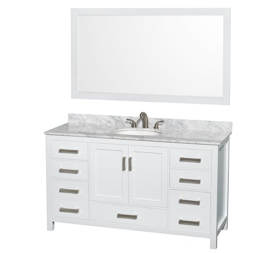 Wyndham Collection Sheffield 60 inch Single Bathroom Vanity in White, White Carrera Marble Countertop, Undermount Oval Sink, and 58 inch Mirror