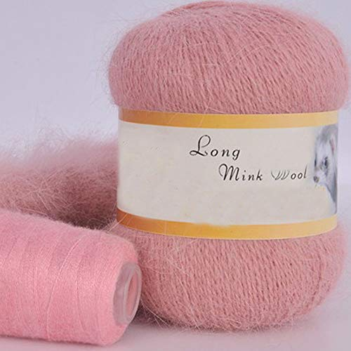 Clisil 100g Crochet Mink Wool Yarn Soft Warm Hand Knit Cashmere Yarn Blush Pink Flurry Yarn DIY Scarf Sweater Hat Yarn Winter Yarn