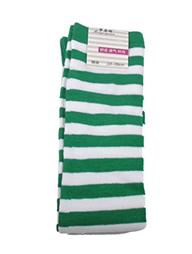 Women's Cute Colorful Long Striped Socks Over Knee High Stockings,Narrow,green&white (Kids Black And White Striped Tights)