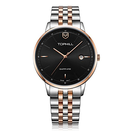 TOPHILL Men's TW065G Swiss Movement Watch Two Tone Stainless Steel Band Black Dial (Rose) ()