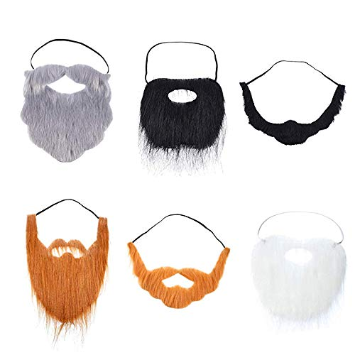 6 Pieces Fake Beards Mustaches for Adults Kids - Funny Beard Facial Hair Costume Accessories with Adjustable Elastic Rope for Cosplay Disguise Party Supplies, 6 Styles