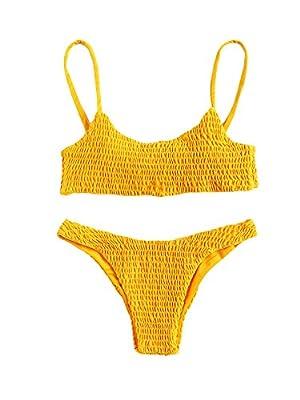 SweatyRocks Women's Sexy Bathing Suit Solid Color Halter Shirred Bikini Swimsuit