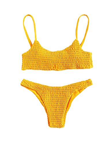 (SweatyRocks Women's Sexy Bathing Suit Solid Color Halter Shirred Bikini Swimsuit Yellow M)