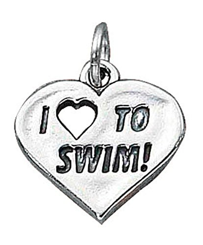 Sterling Silver 30'' Men's 1.5mm Box Chain I LOVE TO SWIM! Word Sports Pendant Necklace by Auntie's Treasures