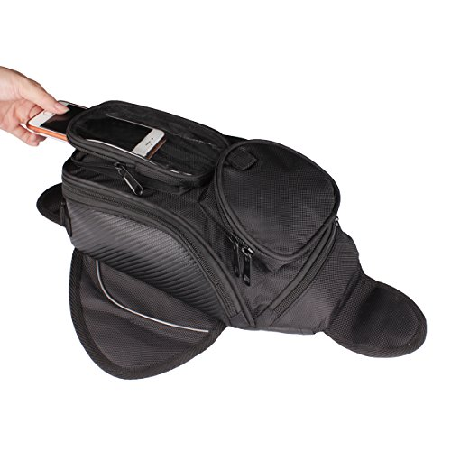 [2017 Upgraded] Motorcycle Tank Bag,GES Universal Oil Fuel Tank Bag with Strong Magnetic Motorbike Riding Waterproof Bag Black (Small) -