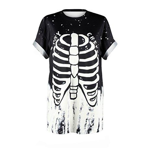 Donne Bones Hippie Corta Nero Halloween Rib Costume T Maglietta Gothic T Shirt Skeleton Manica Moda Shirt Carnevale Shirt Stampa Divertenti Halloween Estivo Moda Graffiti Giovane zSxEX75n