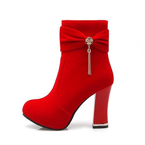 VogueZone009 Damen Hoher Absatz Rein Reißverschluss Stiefel, Rot, 43