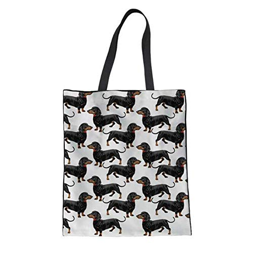 Upetstory Reusable Shopping Bag, Heavy Duty Canvas Grocery Bag, Black Dachshund Dog Tote Purse for Women ()