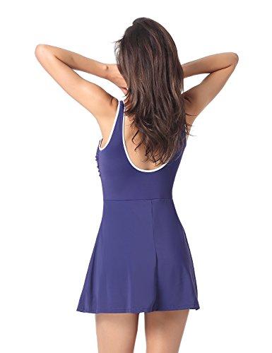 Delimira - Bañador Cremallera Frontal con Falda Una Pieza Para Mujer azul