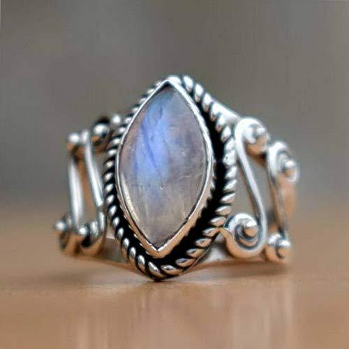 Tomikko 925 Silver Woman Huge Moonstone Gemstone Wedding Fashion Party Ring Size 6-10 | Model RNG - 13590 | 6 ()