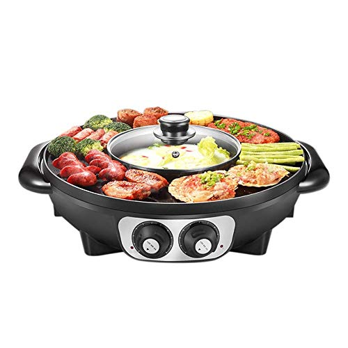 KCSds Household Smokeless Electric Oven Grill Plate, Barbecue Hot Pot Double Pot, Integrated Cooker Pot