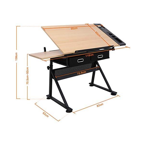 D4P Display4top inclinabile da Tavolo redazione Disegno scrivania Regolabile in Altezza e Due cassetti per Disegno… 2 spesavip