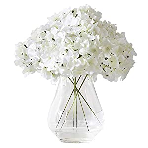 Kislohum Hydrangea Silk Flower White 10 Heads Artificial Hydrangea Silk Flowers Head for Wedding Centerpieces Bouquets DIY Floral Decor Home Decoration with Long Stems - White 70