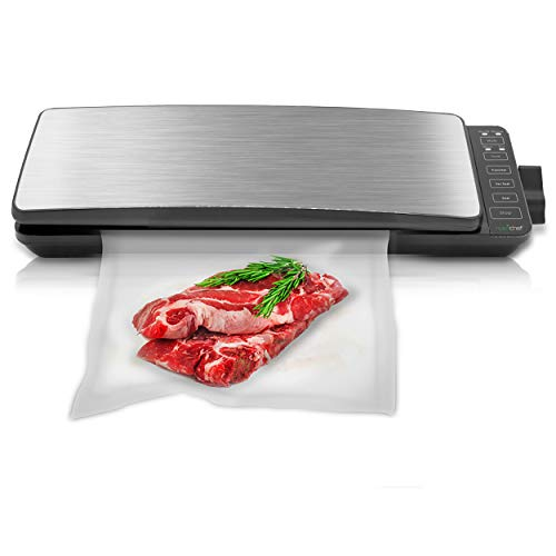 Automatic Food Vacuum Sealer System - 110W Sealed Meat Packing Sealing Preservation Sous Vide Machine w/ 2 Seal Modes, Saver Vac Roll Bags, Vacuum Air Hose - NutriChef PKVS35STS (Stainless Steel)