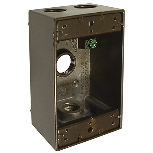 (Hubbell-Bell 5321-2 Single Gang Weatherproof Box with 4-1/2-Inch Outlets, Bronze)