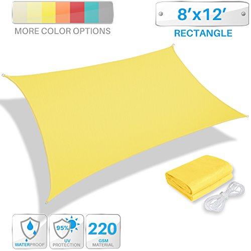 Patio Paradise 8' x 12' Waterproof Sun Shade Sail-Yellow Rectangle UV Block Durable Awning Canopy Outdoor Garden Backyard