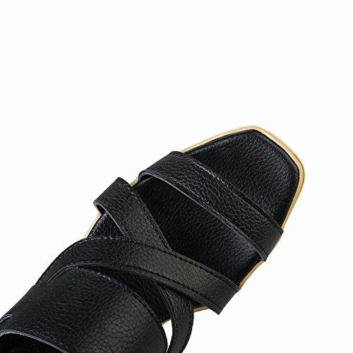 Mee Shoes Damen Keilabsatz Schnalle backstrap Sandalen Schwarz