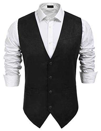 COOFANDY Men's Suede Leather Suit Vest Casual Western Vest Jacket Slim Fit Vest Waistcoat