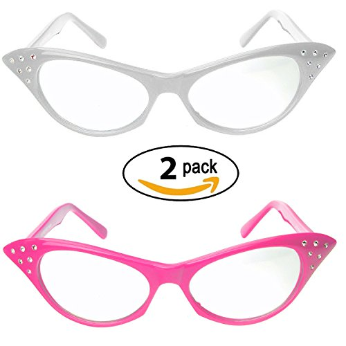 Pink Ladies Halloween Costumes (Cat Eye Glasses with Rhinestones - 50's 60's Retro glasses (2 Pack) (Pink & White Cat Eye Glasses))