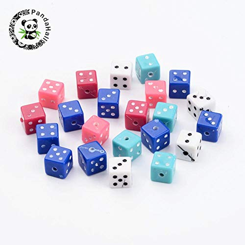 Calvas Chunky Acrylic Square-Shape Dice Beads for Jewelry Makings,Drilled Cube Accessories,Mixed Color,About 7.5x7.5x7.5mm, Hole: ()