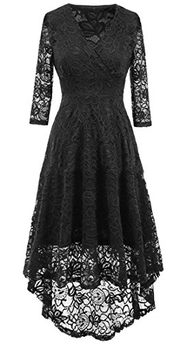 Midi Hollow Women's Sexy Domple Out Party V Lace Slim Black Cocktail Neck Dress Flared qAPwXxw