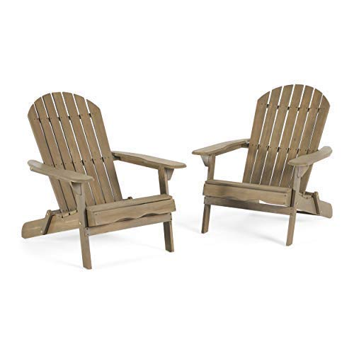 Milan Brown Outdoor Folding Wood Adirondack Chair (Set of 2) -