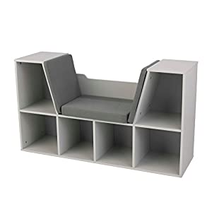 Amazoncom KidKraft Bookcase with Reading Nook Furniture Gray