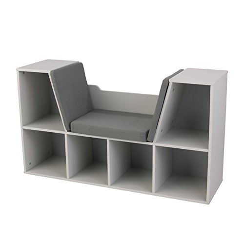 KidKraft Bookcase with Reading Nook Furniture, Gray by KidKraft