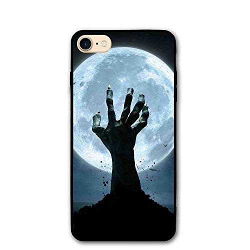 Haixia IPhone 7/8 Protective Case Cover 4.7 Inch Halloween Decorations Zombie Earth Soil Full Moon Bat Horror Story October Twilight Themed Full Blue Black ()