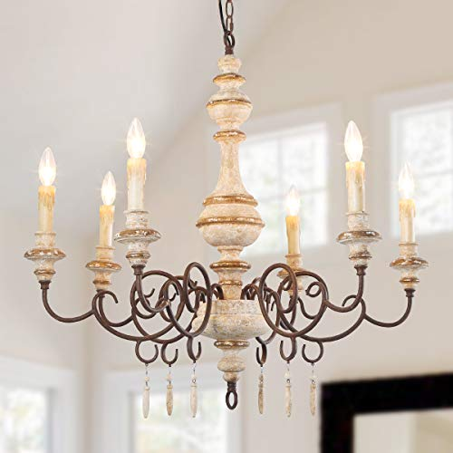 Chandelier Country Style (LNC 6-Light French Country Shabby Chic Wood Chandeliers, A03371)