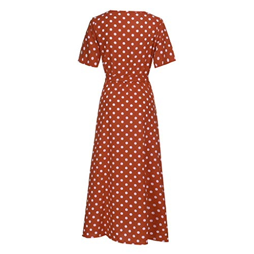 Emimarol Women Dress Casual O-Neck Short Sleeve Dress Beach Polka Dot Bandage Long Maxi Dress Brown]()