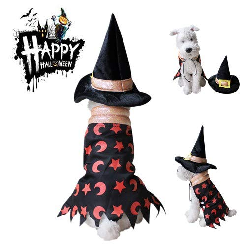 The Chew Costumes (Halloween Pet Wizard Costume,Cute Funny Halloween Witch Cloak with Hat for dog cat,Halloween Christmas Costume Headwear Cosplay Accessories for puppy kitty (S,)
