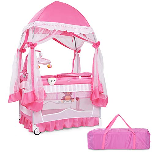 BABY JOY Portable Playard, Convertible Baby Playpen with Removable Bassinet, Changing Table, Music Box, Cute Whirling Toys, Wheels & Brake, Mosquito Mesh Net, Travel Ready with Oxford Carry Bag, Pink ()
