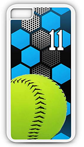 iPhone 6s Case Softball S031Z Choice of Any Personalized Name or Number Tough Phone Case by TYD Designs in White Plastic and White Rubber with Team Jersey Number 11 ()