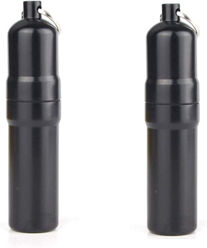 Jixista 2pcs Mini /Étui /à Cigarettes en Aluminium Mini /étui /à Cigarettes Rond en Aluminium r/ésistant /à leau Alliage daluminium Keychain /étui /à Cigarettes pour activit/és de Plein air