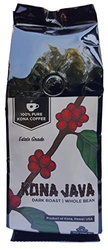 Kona Coffee by Kona Java - 100% Pure Fancy Hawaiian Beans, Not a Blend - Kona Whole Bean - Gourmet Dark Roast - Grown on Real Hawaii Volcanic Soil and Freshly Roasted