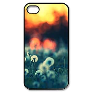IPhone 4/4s Cases Dandelions Bokeh Design for Men, Case for Iphone 4 for Girls Tyquin, {Black}