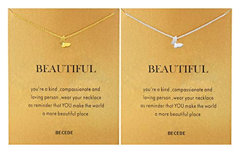 BECEDE Friendship Butterfly Compass Necklace Good Luck Elephant Horseshoe Lotus Pendant Chain Necklace with Message Card Gift Card (Butterfly Gold&Silver)