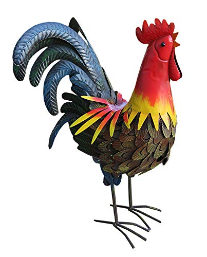 The Gerson Company Outdoor/Indoor Accent Metal Rooster Figurine Statues 22 inch